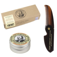 Captain Fawcett Expedition Strength Moustache Wax & Foldable Beard Comb Gift Set