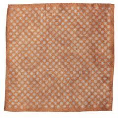 John & Paul Two-sided Brown Pocket Square with Blossoms and Paisley