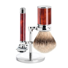 Mühle Traditional Faux Tortoise Shell Shaving Set - Closed-Comb Safety Razor, Silvertip Shaving Brush, Stand