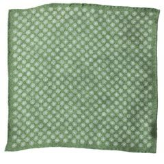 John & Paul Two-sided Green Pocket Square with Blossoms and Paisley