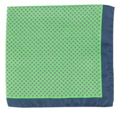 John & Paul Green Silk Pocket Square with Paisley & Blue Hem