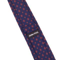 John & Paul Dark Blue Necktie with Large and Small Red Blossoms