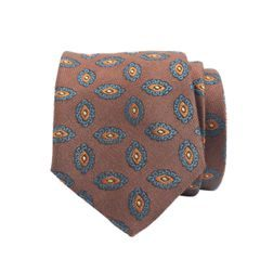 John & Paul Brick Red Silk and Wool Necktie with Blossoms