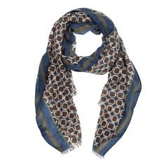 John & Paul Brown and Blue Wool Scarf with Stripes and Shapes