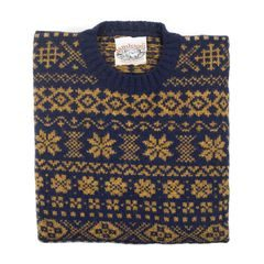 Jamieson's Gold and Blue Shetland Wool Sweater