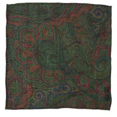 John & Paul Two-sided Green Pocket Square with Birds and Paisley