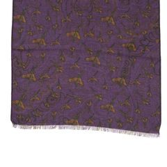 John & Paul Two-sided Purple Wool Scarf with Birds and Paisley