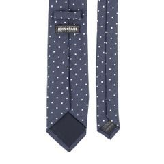 John & Paul Dark Blue Wool and Silk Necktie with Dots