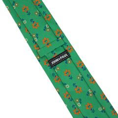 John & Paul Green Necktie with Blossoms