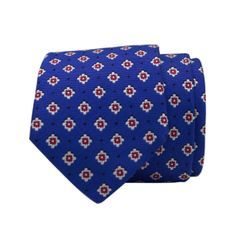 John & Paul Blue Silk Necktie with Blossoms and Dots