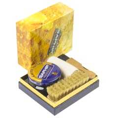 Saphir Shoe Cream Polish, Chamois Cloth & Two Brushes Gift Set