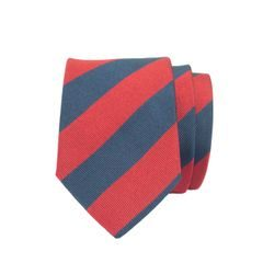 John & Paul Red & Blue Silk Striped Necktie