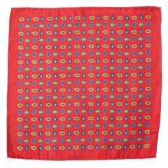 John & Paul Two-sided Red Pocket Square with Checker and Paisley Patterns