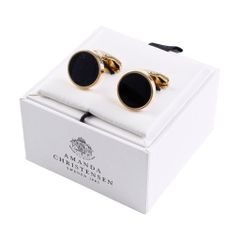 House of Amanda Christensen Gold & Black Onyx Round Cufflinks