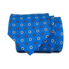 John & Paul Blue Necktie with Two-coloured Blossoms
