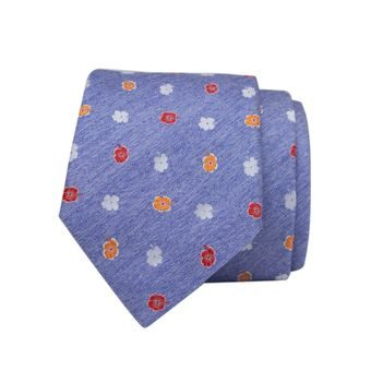John & Paul Light Blue Silk Necktie with Three-colour Blossoms