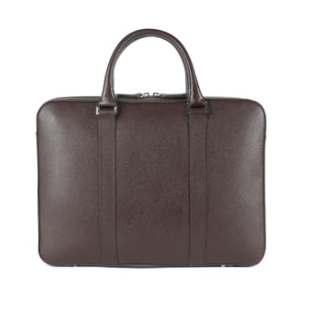 John & Paul Slim Dark Brown Leather Briefcase