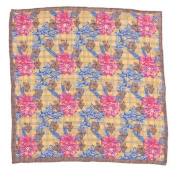 John & Paul Yellow Pocket Square with Flowers, Checkers and Brown Hem