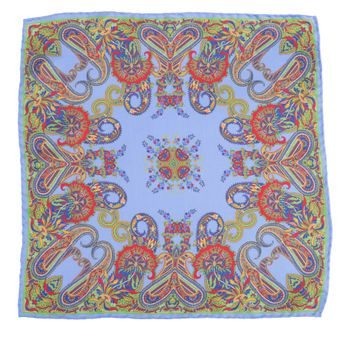 John & Paul Blue Pocket Square with Paisley Pattern