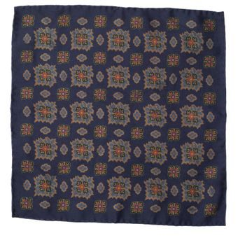 John & Paul Two-sided Blue Pocket Square with Colourful Blossoms and Paisley