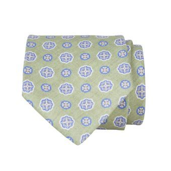 John & Paul Green Silk Necktie with Blue Blossoms