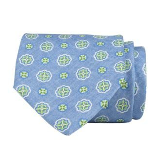 John & Paul Light Blue Necktie with Green Blossoms