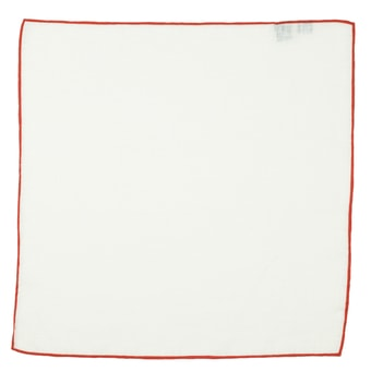 John & Paul White Linen Pocket Square with Red Hem