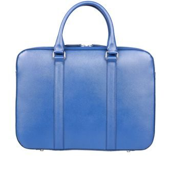 John & Paul Slim Blue Leather Briefcase 2.0