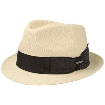 Stetson Trilby Panama Straw Hat with Black Ribbon