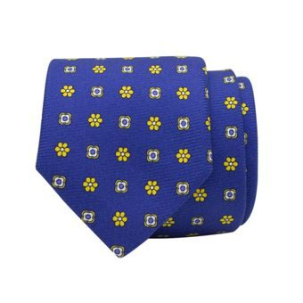 John & Paul Blue Silk Necktie with Yellow Blossoms