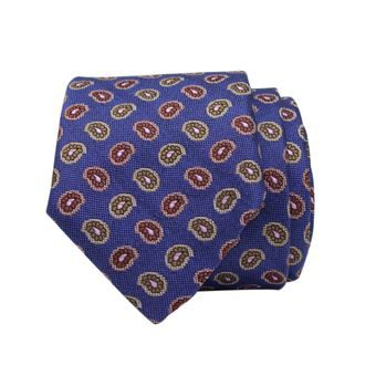 John & Paul Blue Silk Necktie with Two-colour Paisley