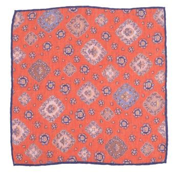 John & Paul Two-sided Orange Pocket Square with Blossoms