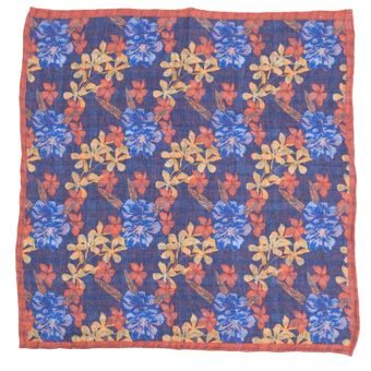 John & Paul Dark Blue Pocket Square with Flowers, Checkers and Orange Hem