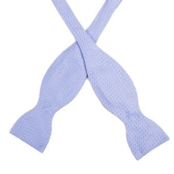 John & Paul Light Blue Self-tie Silk Bow Tie with a Pattern