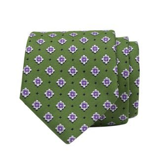 John & Paul Green Silk Necktie with Blossoms and Dots