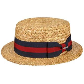 Stetson Boater Red-Blue Ribbon Straw Hat