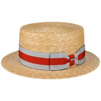 Stetson Boater Red-Grey Ribbon Straw Hat