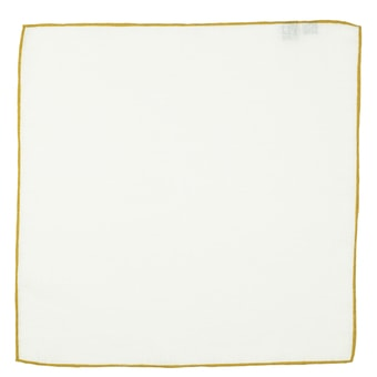 John & Paul White Linen Pocket Square with Light Brown Hem
