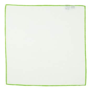 John & Paul White Linen Pocket Square with Light Green Hem