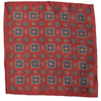 John & Paul Two-sided Red Pocket Square with Blue Blossoms and Paisley