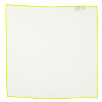 John & Paul White Linen Pocket Square with Yellow Hem