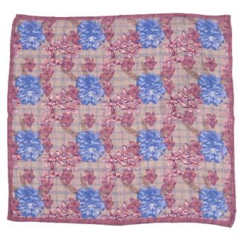 John & Paul Beige Pocket Square with Flowers, Checkers and Burgundy Hem