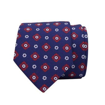 John & Paul Blue Silk Necktie with Red and White Blossoms