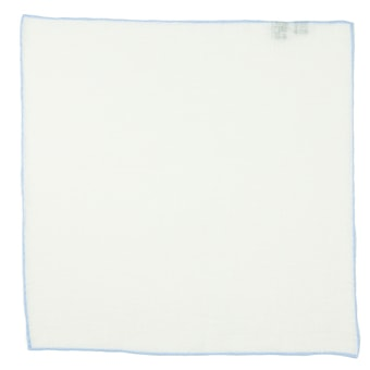John & Paul White Linen Pocket Square with Light Blue Hem
