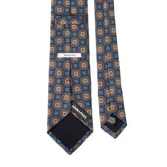 John & Paul Blue Silk Necktie with Brown Blossoms