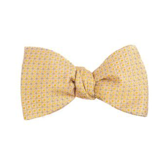 John & Paul Yellow Self-tie Silk Bow Tie with a Pattern