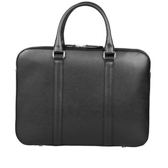 John & Paul Slim Black Leather Briefcase 2.0