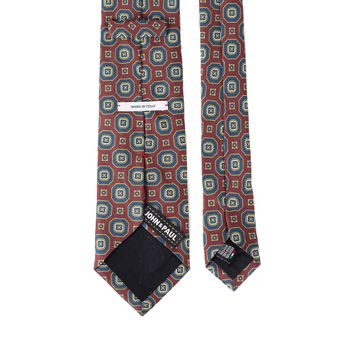 John & Paul Burgundy Silk Necktie with Blue Blossoms