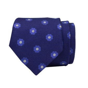 John & Paul Dark Blue Silk Necktie with Blue Blossoms