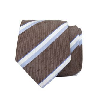 John & Paul Brown Silk Necktie with Stripes
